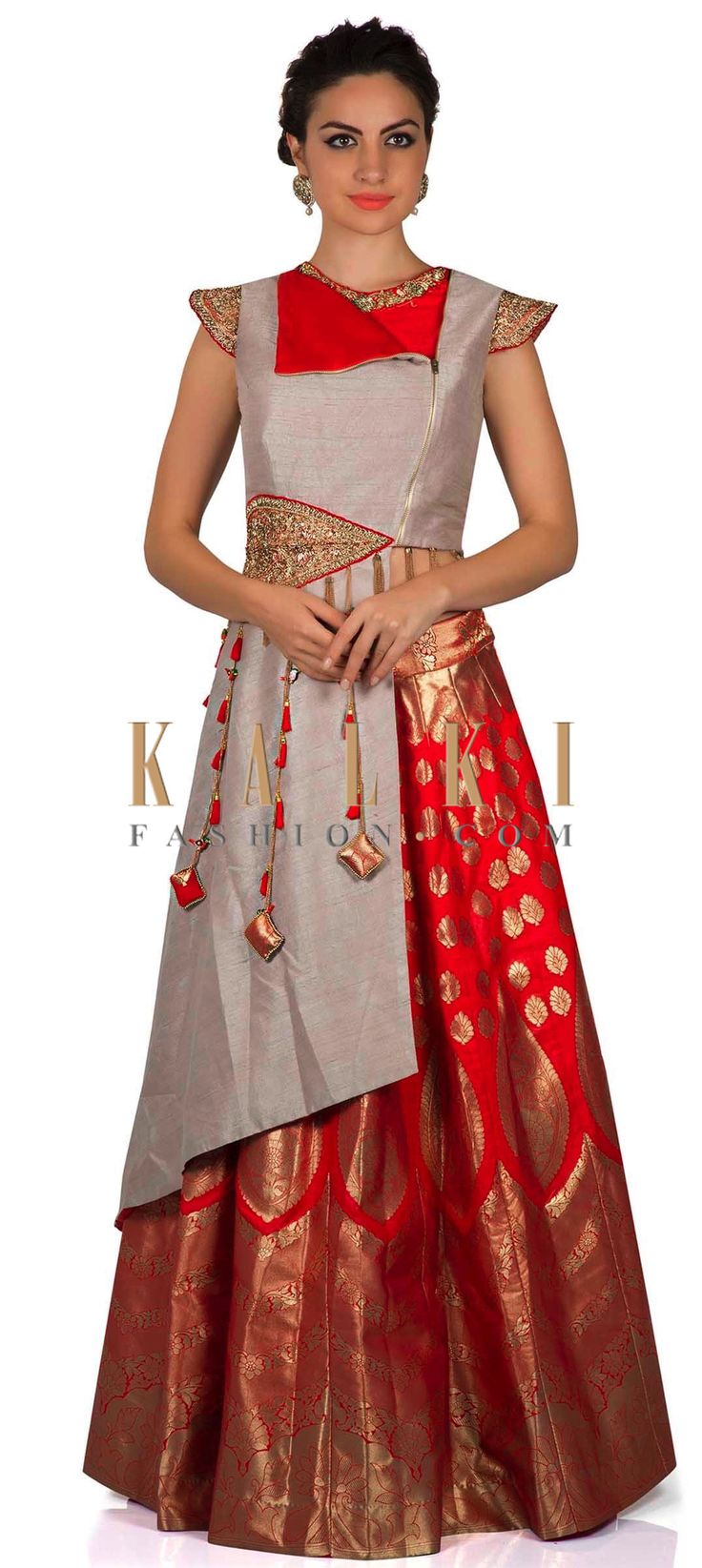 Blood red lehenga with long blouse enhanced in fancy tassel only on Kalki