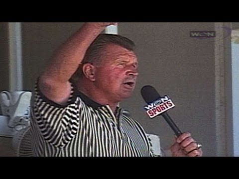 Mike Ditka sings during seventh inning stretch June 5 1998