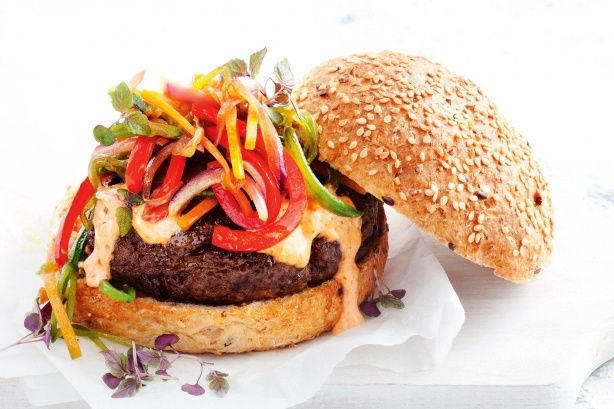Spice up beef #burgers with fresh veg and a dollop of chilli mayo.