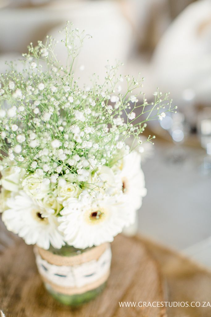 Gerberas and Baby's-Breath. Rustic wedding flowers. Done by Blushing Rose