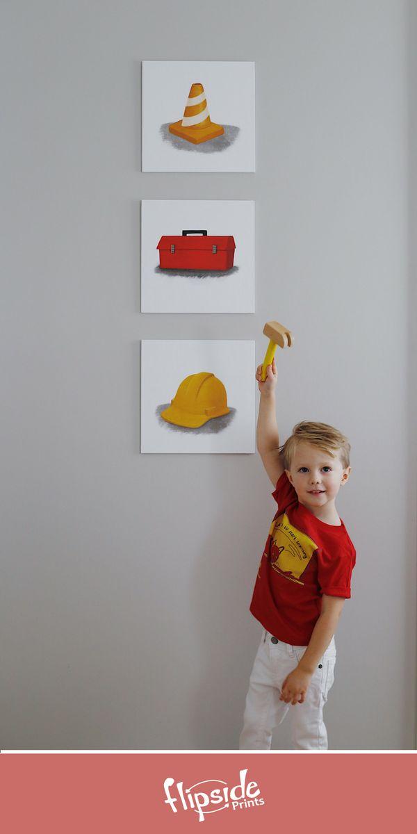 Flipside Prints | Construction themed wall art for boys bedroom or nursery