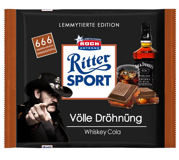 Ritter Sport Lemmytierte Edition - Völle Dröhnüng Whiskey Cola. :) (via Facebook - ROCK ANTENNE) #cool #witzig #humor #fun #lachen #spaß #lustig #rittersport #schokolade #motörhead #lemmy #lemmykilmister #jackdaniels