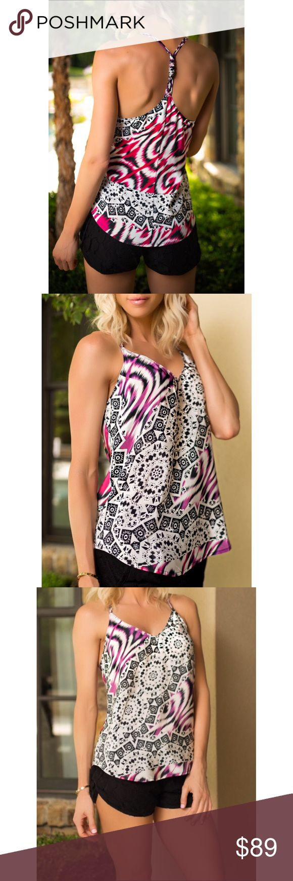 "🆕 Charlie Jade 100% Silk Fuchsia Racerback Top Just one look and you know this 100% silk chiffon top has to be yours! A vibrant mix of geometrical prints and zigzags in black, white, and fuchsia will dress up your favorite bottoms. The asymmetrical hemline and v-neck cut is complimented with three tiny straps on each side that come together in the middle of the back and are held together by the cutest little scrunch detail.  🔮27"" front/back length; 25"" side length; 36"" bust (size Medium)…"