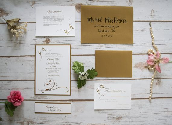 Pearl White and Gold Fancy Elegant Wedding Invitation