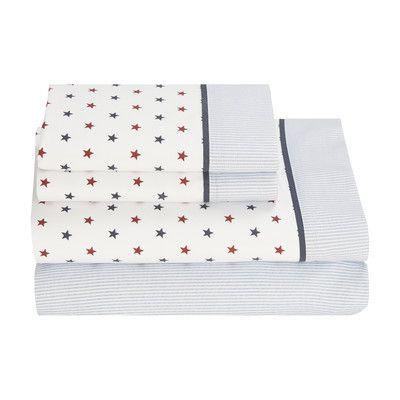 Tommy Hilfiger Union Stars 180 Thread Count Sheet Set & Reviews | Wayfair