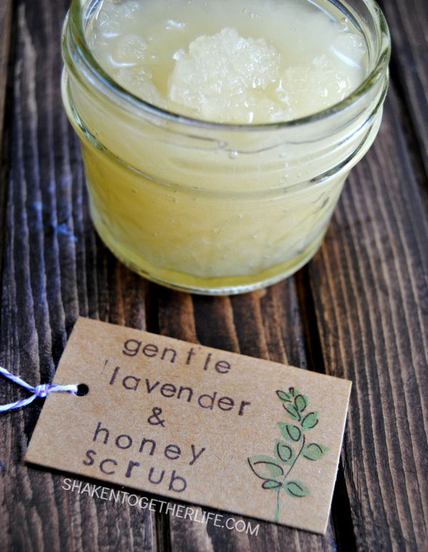 Beat dry, flaky skin with a gentle lavender honey scrub! I love it for the dry areas on my face, cuticles and hands. And there are only 4 ingredients!