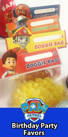"Turn Goody Bags into ""Doggie Bags"" for a PAW Patrol themed birthday party. Just print, cut, and staple onto a baggie to create the perfect party favor!"