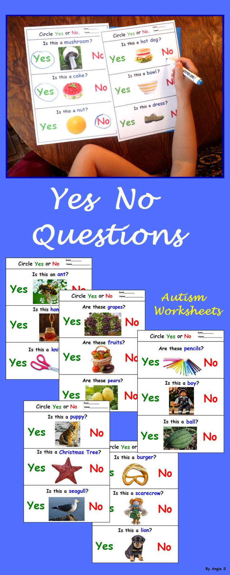Yes No Questions Autism Worksheets for Speech Therapy, a great activity to target basic yes no questions, good for students with autism and special needs. Asking and answering questions are very important for teaching preschool and kindergarten students. #autism #yesnoquestion #esl #autismresources #tpt For more special ed resources follow https://www.pinterest.com/angelajuvic/autism-special-education-resources-angie-s-tpt-sto/