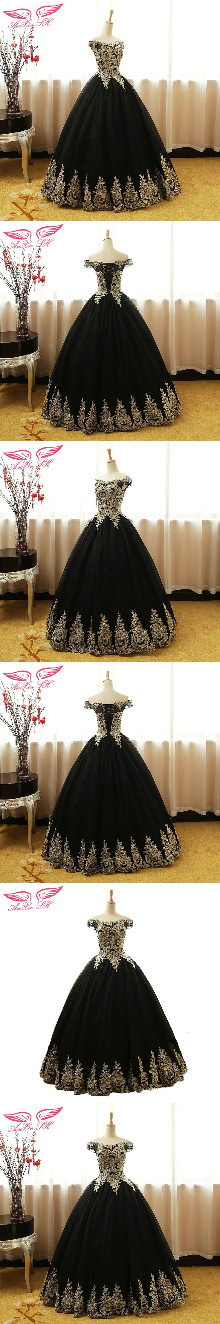 AnXin SH golden lace black lace evening dress princess golden flower lace evening dress boat neck black lace evening dress