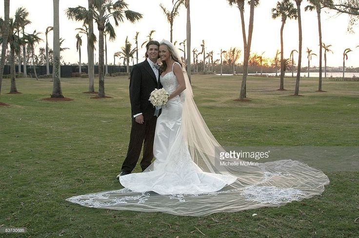 Donald Trump, Jr. and Vanessa Haydon pose after their wedding at the Mar-a-Lago Club November 12, 2005 in Palm Beach, Florida.