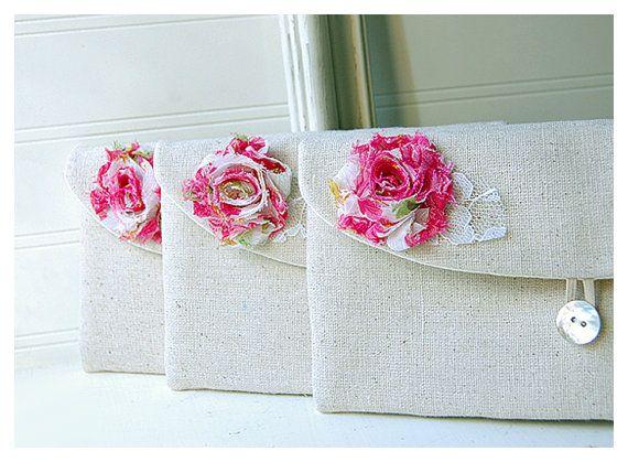 Lace leaf burlap bag clutch set 3 4 5 6 bridesmaid by hoganfe
