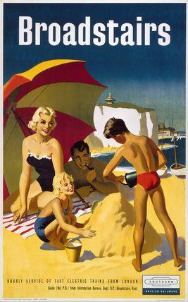 Broadstairs Beach in Kent, England 1959 British Railways vintage travel poster