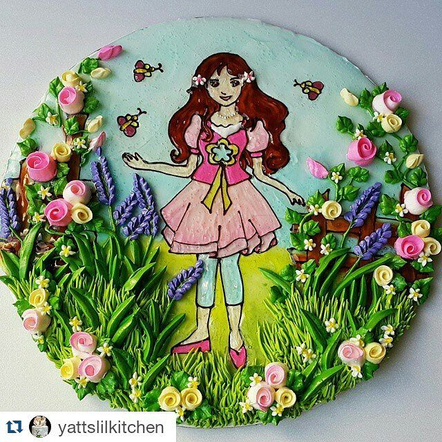 """CARTOON ARtWork CLASS: 05 September 2015 (Saturday) - learn to decorate a 10"""" cake with chocolate outline piping technique, gel colorings & learn some flower pipings to complete the garden theme Fee : RM380  Location : 14 Jln Flora 2, Saujana Utama, Sg Buloh Time : 9.30am - 5.30pm sms/whatsap 013-3421830 (Lynnhassan) for class registration & booking"""