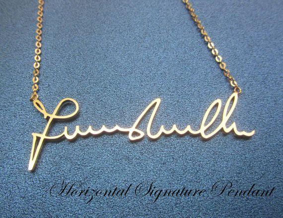 Personalized Handwriting Signature, Custom Name Necklace, Signature Necklace - Horizontal Pendant