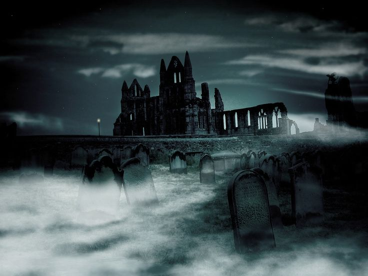 Whitby Abbey Ruins in North Yorkshire, England ~ looks spooky in the fog