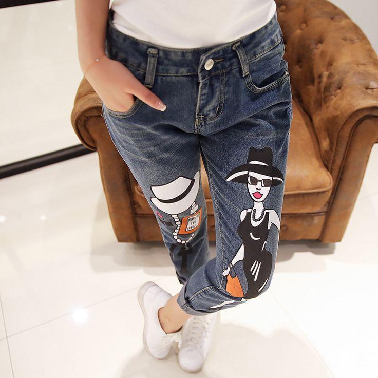 Новый 2015 стильный мода новый мультфильм печатных рваные джинсы симпатичные капри джинсовые брюки причинно джинсы женщина Большой размер 25 - 31