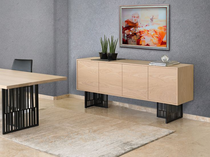 BARCODE contemporary sideboard with metal legs