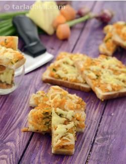 This cheesy and savoury snack is sure to be enjoyed by kids and adults alike, which makes it a great choice to serve as a starter at parties. Bread slices are topped with a crunchy-munchy topping of sautéed veggies and sauces, along with a dash of cheese too, and baked till perfectly crisp. The appetizing outcome is then cut into handy sized Cheesy Onion Fingers, which are sure to be relished thoroughly by all.
