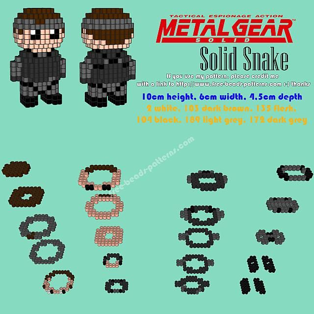 3D Perler beads Hama Beads Solid Snake Metal Gear Solid PS1