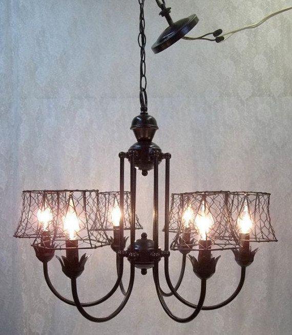 Black Iron Chandelier Black Chicken Wire Lamp Shades Six Light Black Iron Chandelier Farmhouse Lighting Dining Black Chandelier
