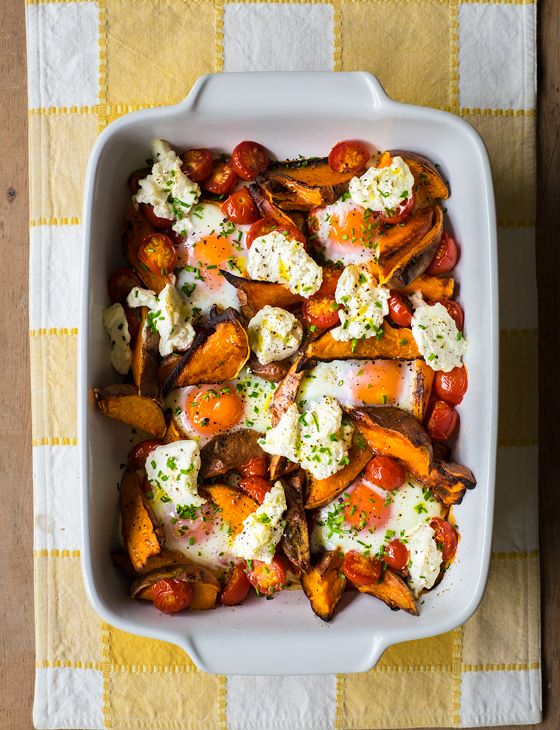 Spicy sweet potato, tomato, ricotta and egg bake - This is a great brunch dish served with crusty bread. If you like things spicy, serve with extra harissa from the jar used in the steak recipe