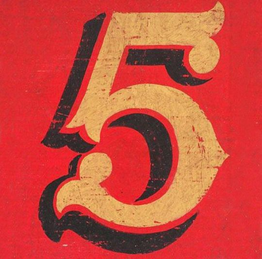 Lettering inspiration, what's not to like its a massive number 5 painted on wood.