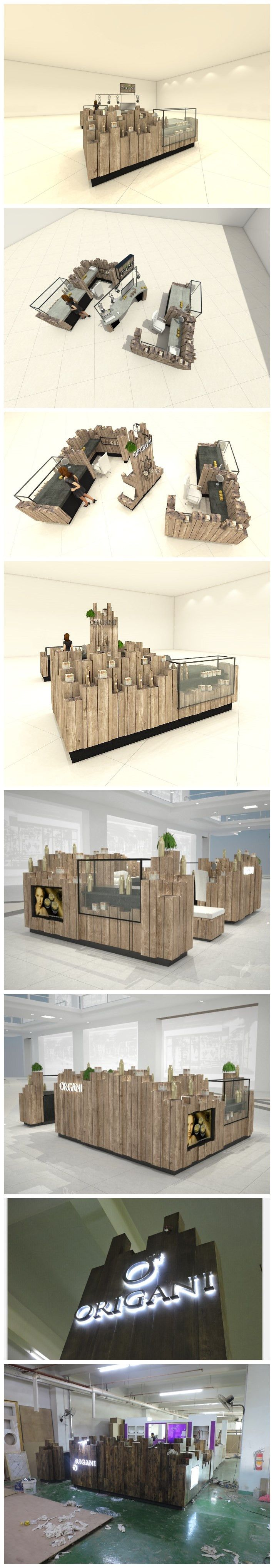Origani Mall Kiosk, solid wood made from China to Worldwide