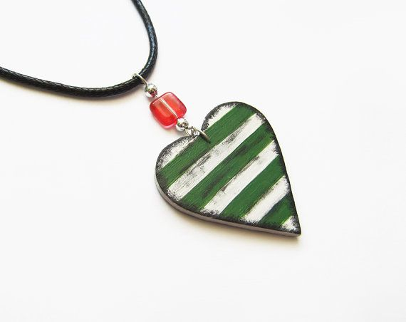 Retro wooden heart necklace stripes hand by forEVAhairforks