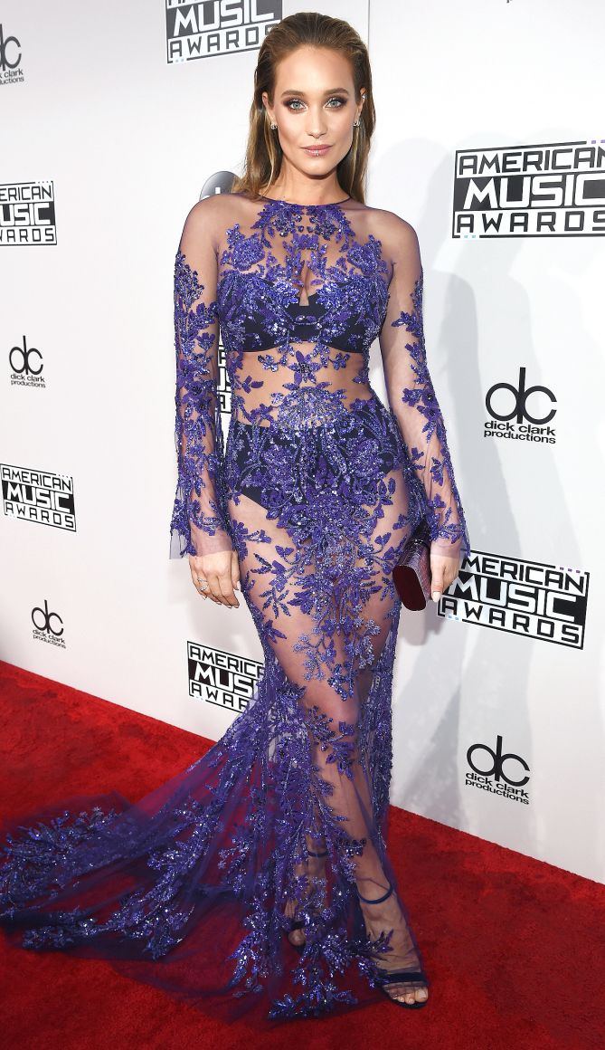 AMAs 2016 Best Dressed on the Red Carpet - Hannah Jeter in a sheer purple Zuhair Murad dress