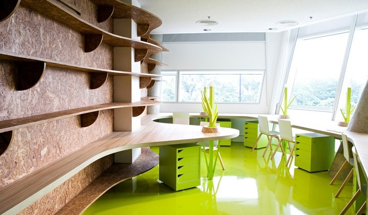 A combination of OSB, a light wood décor and a vibrant green provides this bold design!!  Some inspiration from our range: our M3280 Broad Oak (http://innovus.co/eng/site/decor_detail/broad_oak) and our L2446 Citrus Green