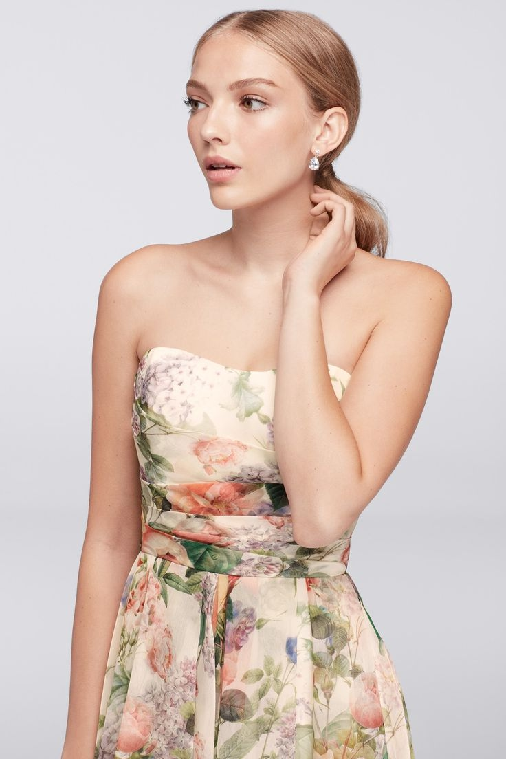241 best spring summer wedding ideas images on pinterest the beautifully blooming floral print of this short strapless fit and flare bridesmaid dress ombrellifo Choice Image
