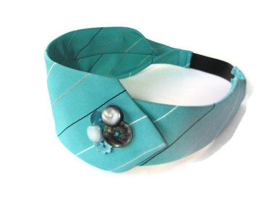 Repurposed Necktie Headband with Vintage by PistilandPennyroyal, $17.00