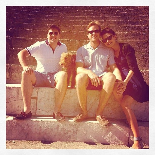 Armie Hammer, wife Elizabeth, dog Archie and a friend took time to visit Pompeii in Italy during the 2013 filming of the Man From UNCLE movie.