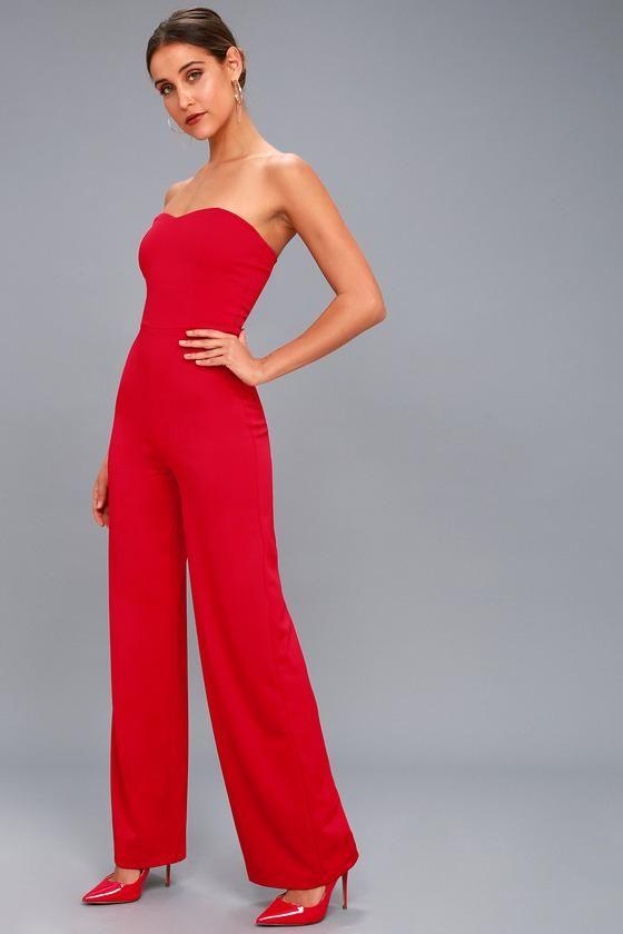 e73be28c1afb  Spring  AdoreWe  Lulus -  Lulus Edith Red Strapless Jumpsuit - Lulus -  AdoreWe.com