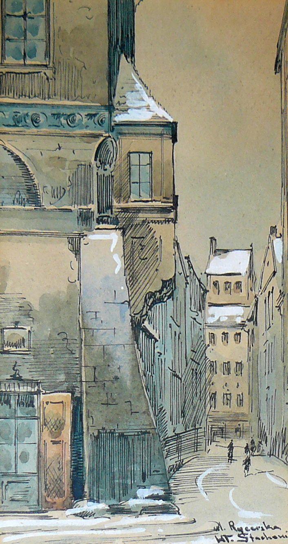 """Władysław CHMIELIŃSKI - """"Ulica Rycerska w Warszawie"""" - Obrazy, malarstwo współczesne, galeria sztuki Bielsko Biała"""
