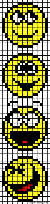 Smiley faces perler bead pattern - IDEAL FOR PLASTIC CANVAS TOO