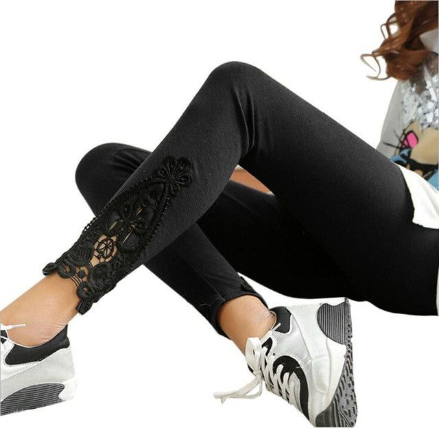 Fashion Spring Autumn Women Leg Triangle Side Straight Cotton Lace Patchwork Ankle-Length Leggings Black/Brown/Gray/Navy 60729