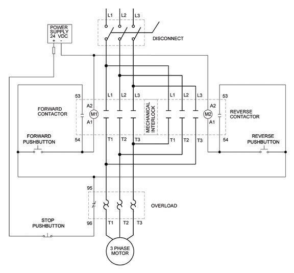 full voltage reversing 3 phase motor diagram electrical