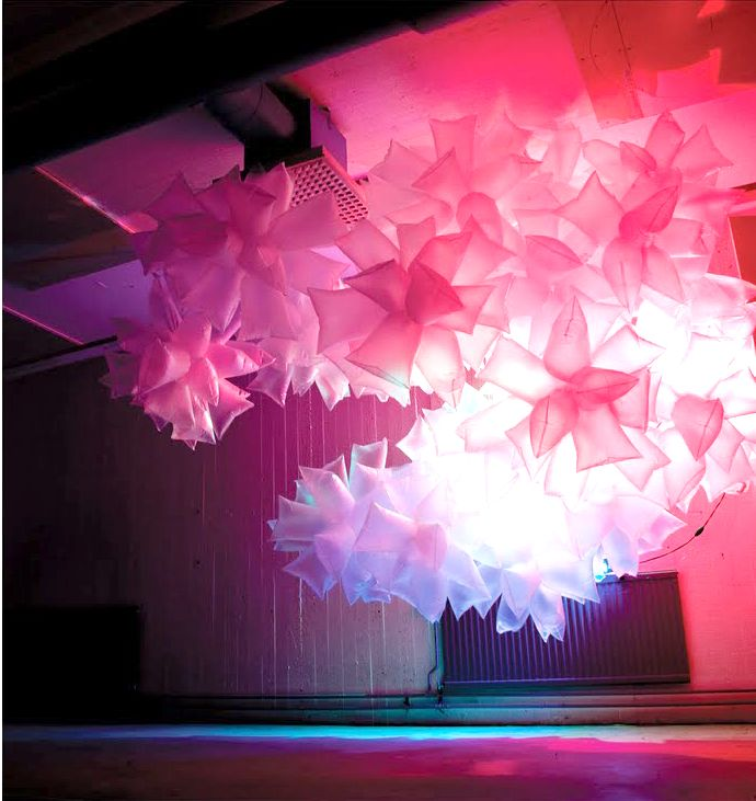 Plastic Bag and Light Installation. Visit http://kimdeniseohrstrom.tumblr.com for more pictures.