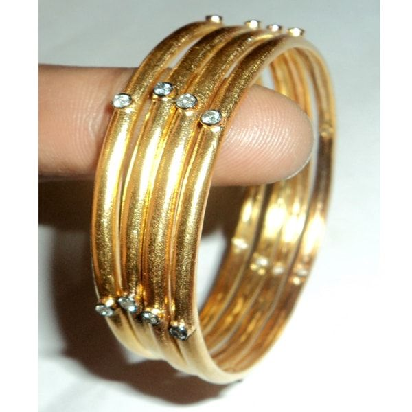 4Pc 14K Gold Plated Diamond 925 Silver Bangle
