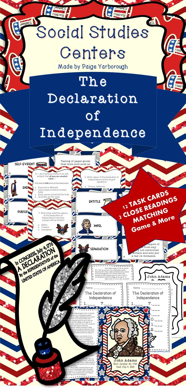 The Declaration of Independence: Social Studies Centers ✎ 12 Task Cards ✎ Student Recording Sheet ✎ Thomas Jefferson Close Reading ✎ John Adams Close Reading ✎ Comparing Jefferson and Adams Activity ✎Vocabulary of the Declaration Matching Game ✎Matching Game Recording Sheet ✎ All Answer Keys Included!