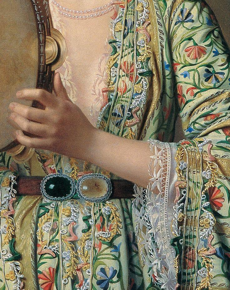 """Detalle del """"Retrato de una dama de La Corte tocando la pandereta"""" (1875. Pierre Désiré Guillemet (Francia, 1827-Constantinopla, 1878)."""