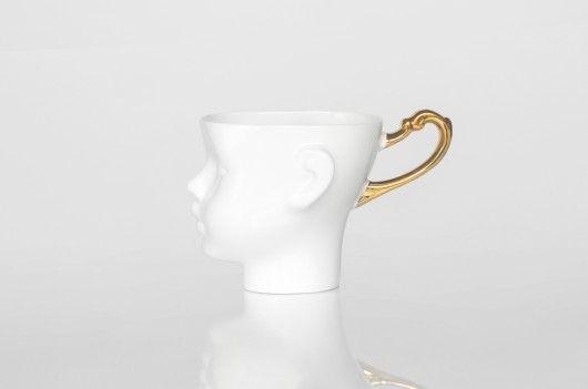 porcelana i szkło - kubki i filiżanki-Kubek Główka zdobiony złotem