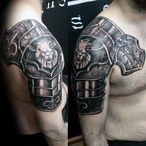 Battle Armor Plate Lion Shoulder Mens Tattoos | Tattoo ...