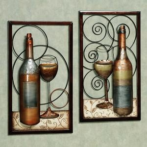 Una Bella Serata Wine Metal Wall Art Set