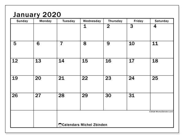 January 2020 Calendar 50ss Kalender Januari Aantekeningen