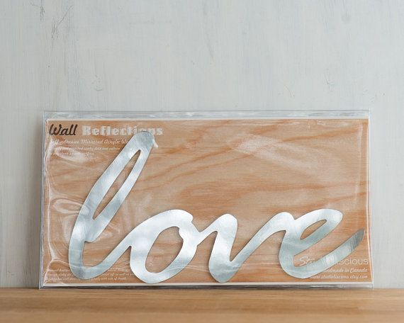 Love Mirror Word Wall Decor typography by StudioLiscious on Etsy, $22.00
