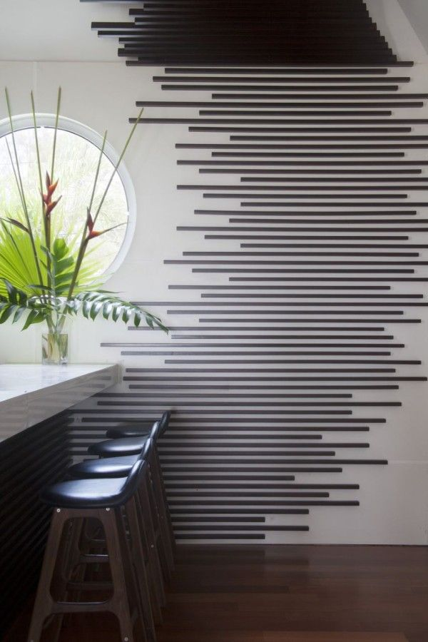 Wall treatment at the bar of the Trident Hotel