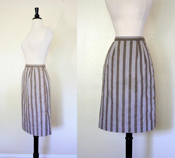 Vintage 80's Skirt / Vertical Stripe Pencil Skirt / 1980s High Waist Skirt by mousevoxvintage, $18.00