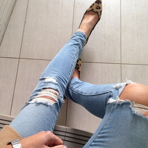 Just go with it - I have a lot of distressed denim